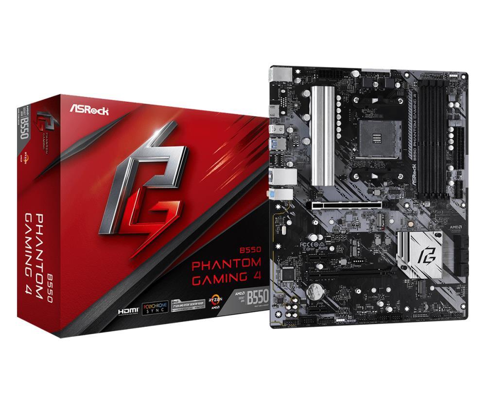 Mainboard | ASROCK | AMD B550 | SAM4 | ATX | 2xPCI-Express 3.0 1x | 1xPCI-Express 3.0 4x | 2xM.2 | 1xPCI-Express 4.0 16x | Memory DDR4 | Memory slots 4 | 1xHDMI | 2xAudio-In | 1xAudio-Out | 6xUSB 3.2 | 1xPS/2 | 1xRJ45 | B550PHANTOMGAMING4