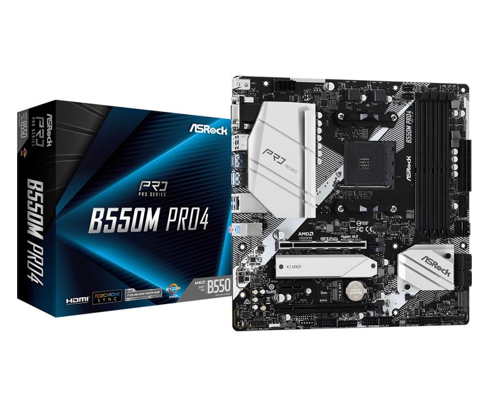 Mainboard | ASROCK | AMD B550 | SAM4 | MicroATX | 1xPCI-Express 3.0 1x | 1xPCI-Express 3.0 16x | 1xM.2 | 1xPCI-Express 4.0 16x | Memory DDR4 | Memory slots 4 | 1x15pin D-sub | 1xHDMI | 1xDisplayPort | 2xUSB 2.0 | 1xUSB type C | 5xUSB 3.2 | 1xPS/2 | 1xRJ45