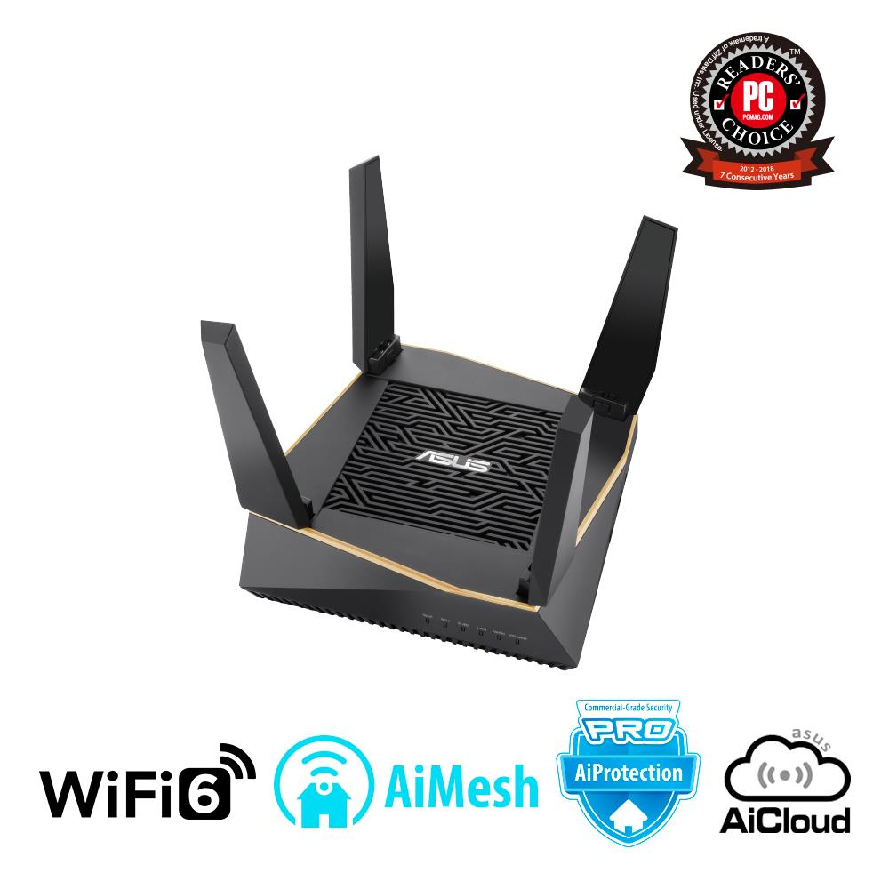 Wireless Router | ASUS | Wireless Router | 6100 Mbps | IEEE 802.11ac | IEEE 802.11ax | USB 2.0 | USB 3.1 | 1 WAN | 4x10/100/1000M | Number of antennas 6 | RT-AX92U