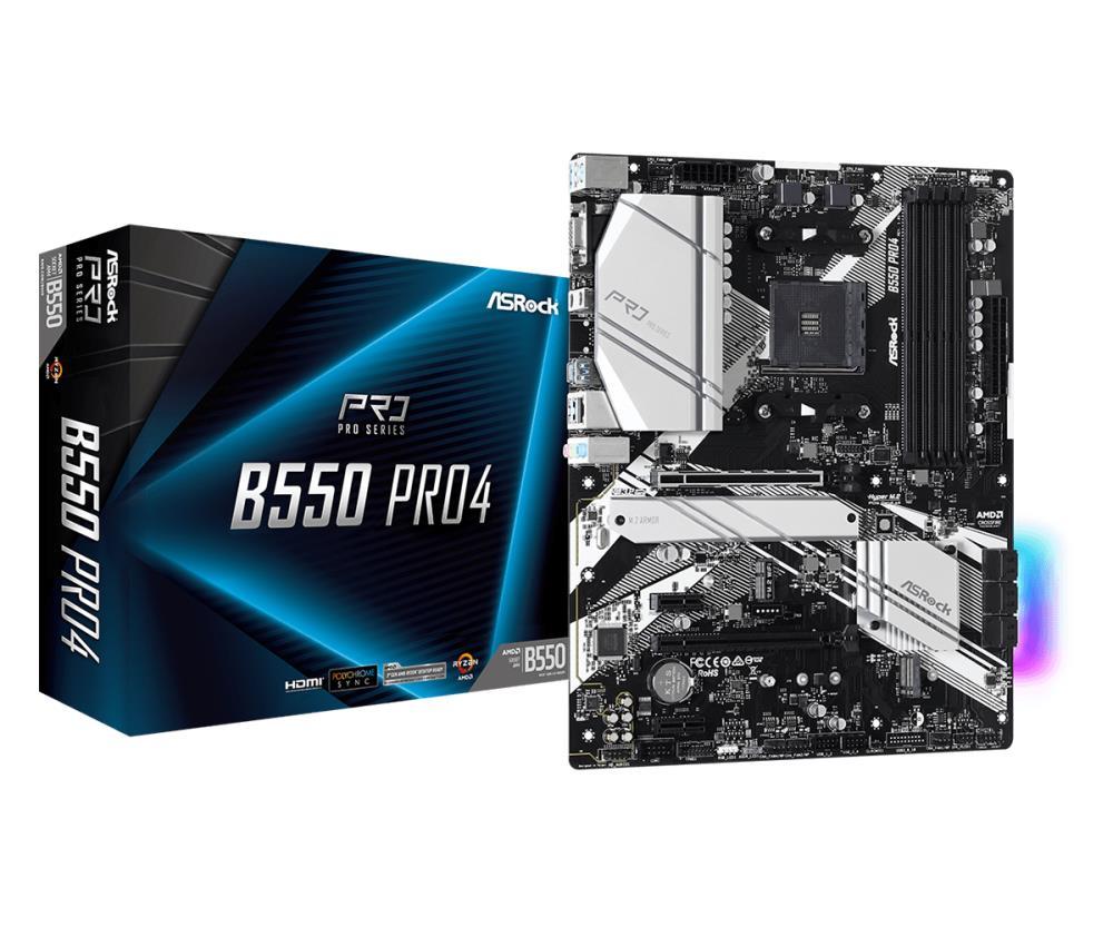 Mainboard | ASROCK | AMD B550 | SAM4 | ATX | 2xPCI-Express 3.0 1x | 1xPCI-Express 3.0 16x | 2xM.2 | 1xPCI-Express 4.0 16x | Memory DDR4 | Memory slots 4 | 1x15pin D-sub | 1xHDMI | 1xUSB type C | 5xUSB 3.2 | 1xPS/2 | 1xRJ45 | 3xAudio port | B550PRO4