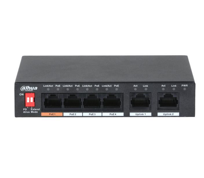 Switch   DAHUA   PFS3006-4ET-60   Type L2   PoE ports 4   60 Watts   DH-PFS3006-4ET-60-V2