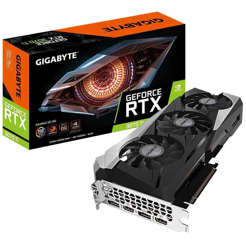 Graphics Card   GIGABYTE   NVIDIA GeForce RTX 3070 Ti   8 GB   256 bit   PCIE 4.0 16x   GDDR6X   Memory 19000 MHz   GPU 1830 MHz   2xHDMI   2xDisplayPort   GV-N307TGAMINGOC-8GD