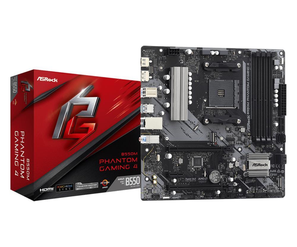 Mainboard | ASROCK | AMD B550 | SAM4 | MicroATX | 1xPCI-Express 3.0 1x | 1xPCI-Express 3.0 4x | 2xM.2 | 1xPCI-Express 4.0 16x | Memory DDR4 | Memory slots 4 | 1xHDMI | 1xDisplayPort | 2xAudio-In | 1xAudio-Out | 2xUSB 2.0 | 4xUSB 3.2 | 1xPS/2 | 1xRJ45 | B5
