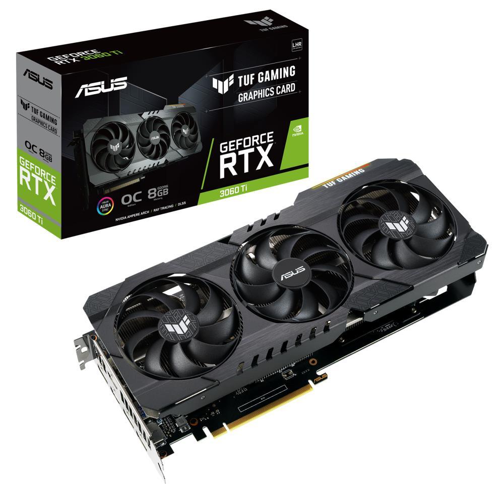Graphics Card   ASUS   NVIDIA GeForce RTX 3060 Ti   8 GB   256 bit   PCIE 4.0 16x   GDDR6   2xHDMI   3xDisplayPort   TUF-RTX3060TI-O8G-V2-GAM