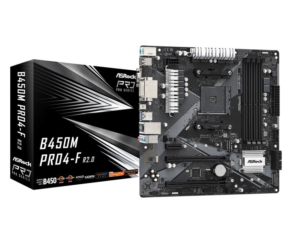 Mainboard | ASROCK | AMD B450 | SAM4 | MicroATX | Memory DDR4 | Memory slots 4 | 1xPCI-Express 2.0 1x | 1xPCI-Express 2.0 16x | 1xPCI-Express 3.0 16x | 2xM.2 | 1x15pin D-sub | 1xDVI | 1xHDMI | 2xAudio-In | 1xAudio-Out | 2xUSB 2.0 | 1xUSB type C | 4xUSB 3.