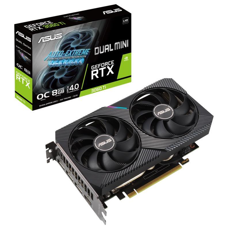 Graphics Card   ASUS   NVIDIA GeForce RTX 3060 Ti   8 GB   256 bit   PCIE 4.0 16x   GDDR6   GPU 1680 MHz   Dual Slot Fansink   1xHDMI   3xDisplayPort   RTX3060TI-O8G-MINI-V2