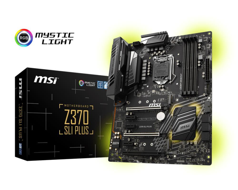 Mainboard   MSI   Intel Z370 Express   LGA1151   ATX   3xPCI-Express 3.0 1x   3xPCI-Express 3.0 16x   2xM.2   Memory DDR4   Memory slots 4   1xDVI   1xHDMI   2xUSB 2.0   5xUSB 3.1   1xUSB type C   1xPS 2   1xOptical S PDIF   1xRJ45   5xAudio port   Z370SL