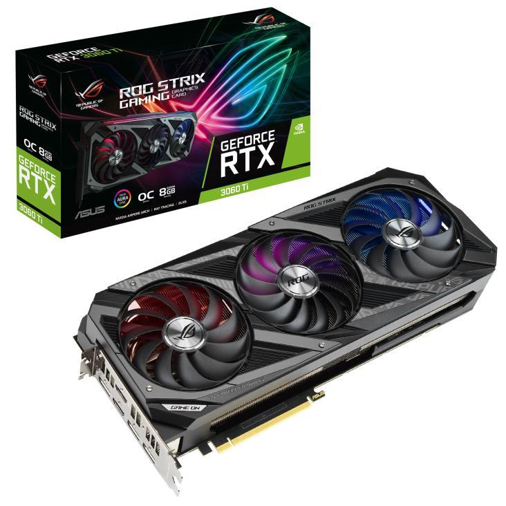 Graphics Card   ASUS   NVIDIA GeForce RTX 3060 Ti   8 GB   256 bit   PCIE 4.0 16x   GDDR6   GPU 1860 MHz   Triple slot Fansink   2xHDMI   3xDisplayPort   STRIX-RTX3060TI-O8G-V2-GA