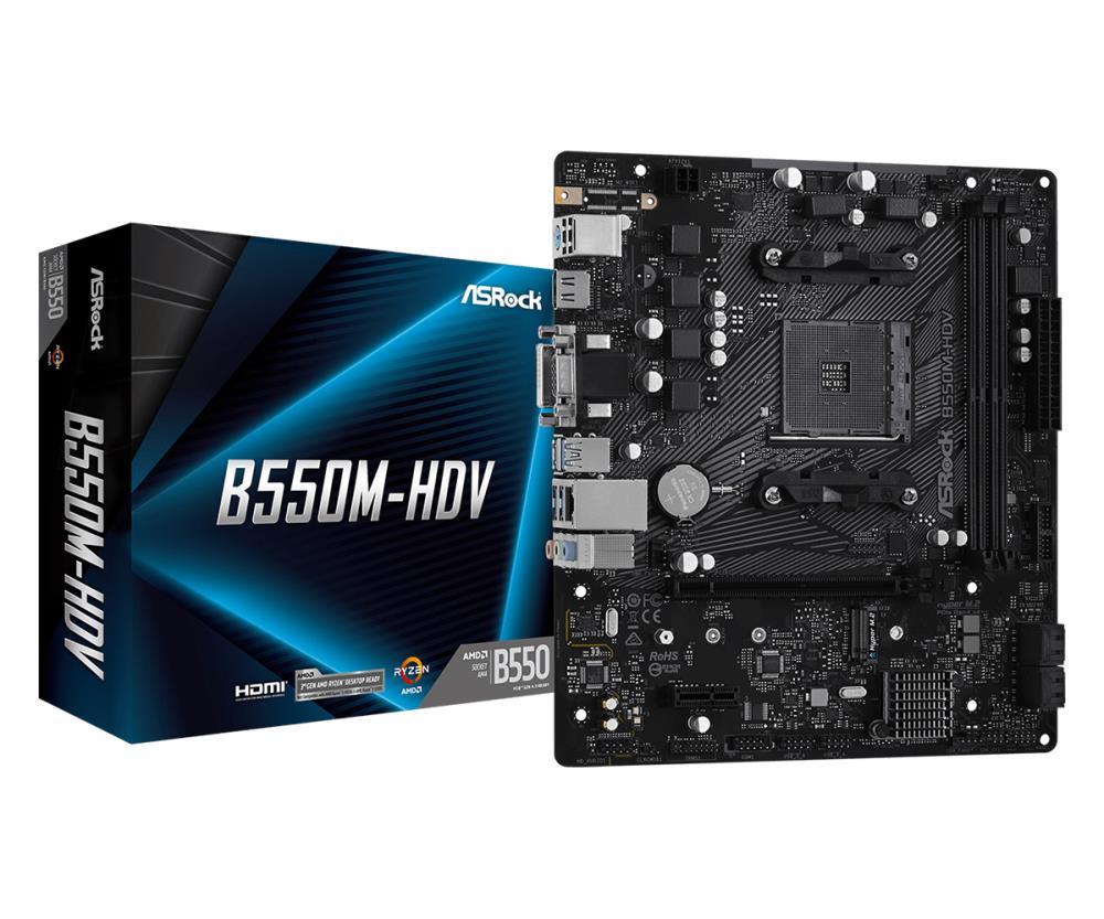 Mainboard | ASROCK | AMD B550 | SAM4 | MicroATX | 1xPCI-Express 3.0 1x | 1xM.2 | 1xPCI-Express 4.0 16x | Memory DDR4 | Memory slots 2 | 1x15pin D-sub | 1xDVI | 1xHDMI | 2xUSB 2.0 | 4xUSB 3.2 | 1xPS/2 | 1xRJ45 | 3xAudio port | B550M-HDV